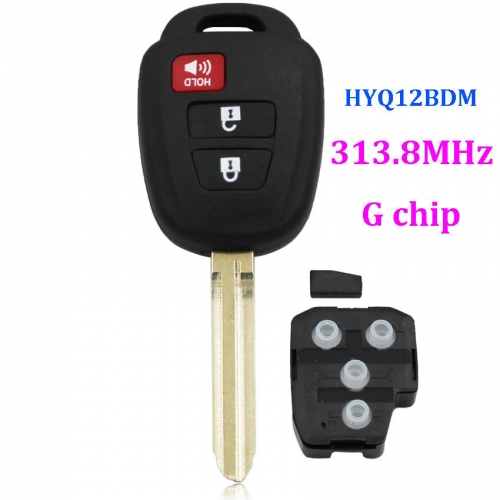 New Uncut Remote Key Fob With G Chip for 2012-2013 Toyota Prius C FCCID:HYQ12BDM