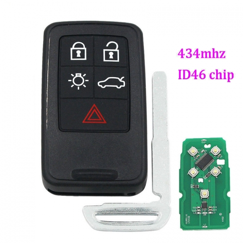 5 buttons Smart Remote Key fob for Volvo XC60 S60 S60L V40 V60 434mhz id46 chip