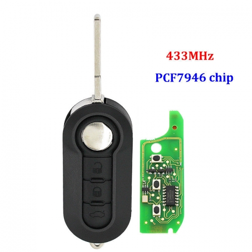 Remote Key Fob 3 Button 433MHz PCF7946 chip for Fiat 500 Doblo Punto Evo Qubo