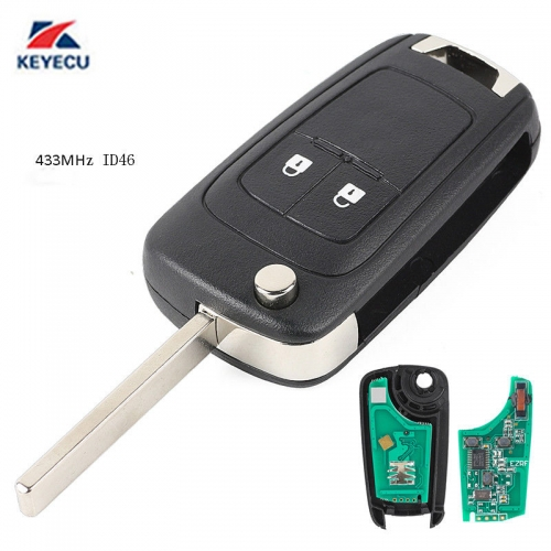 2 Button Replacement Remote Key Fob 433.92MHz ID46 for Opel Insignia 2009-2012