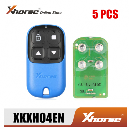 Xhorse XKXH04EN Garage Remote Key 4 Buttons Blue 5pcs/Lot