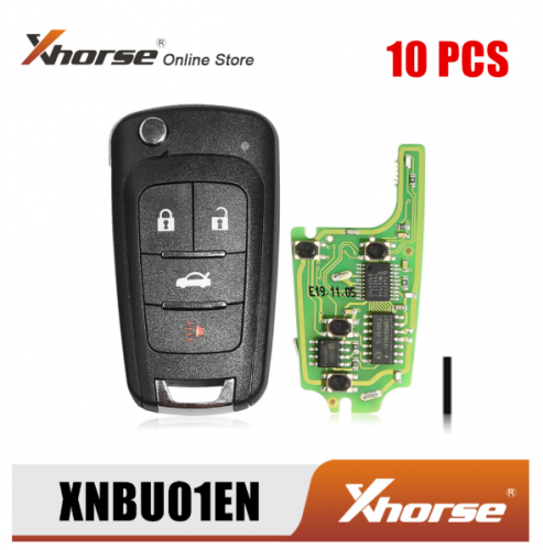 Xhorse XNBU01EN Wireless Remote Key for Buick Flip 4 Buttons English Version 10pcs/Lot