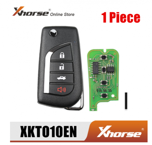 Xhorse XKTO10EN Wired Universal Remote Key for Toyota Flip 4 Buttons English Version 1 Piece