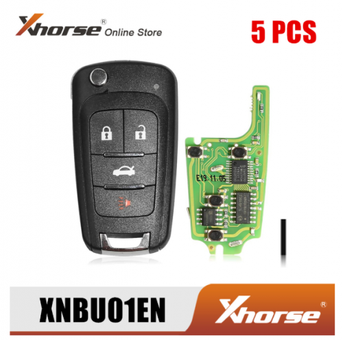Xhorse XNBU01EN Wireless Remote Key for Buick Flip 4 Buttons English Version 5pcs/Lot