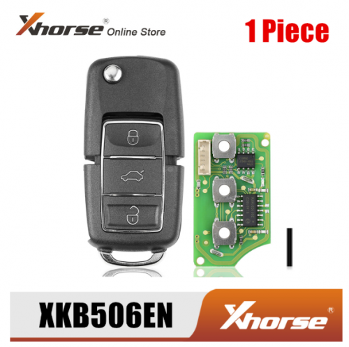 Xhorse XKB506EN Wire Remote Key for VW B5 Flip 3 Buttons Extreme Black English Version 1 Piece