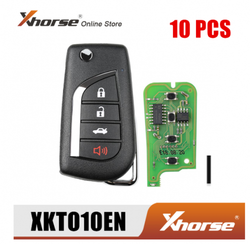 Xhorse XKTO10EN Wired Universal Remote Key for Toyota Flip 4 Buttons English Version 10pcs/lot
