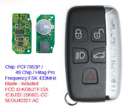 Remote Key Fob 315MHz/433MHz for Land Rover LR2 LR4,Range Rover Evoque Sport 2012-2017 KOBJTF10A  With Logo