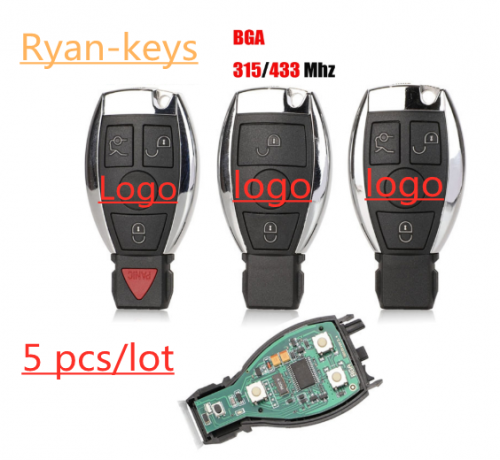 Smart Remote Key 3 Button 433MHz NEC Chip for Mercedes-Benz 2000+ With Logo