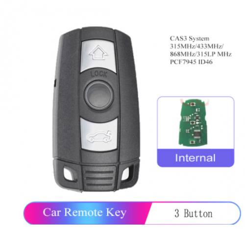 Remote Key 3B 315MHz/433MHz/868MHz for BMW 1/3/5/7 Series CAS3 X5 X6 Z4 Car Control Transmitter With Chip ID46 PCF7945 With Logo
