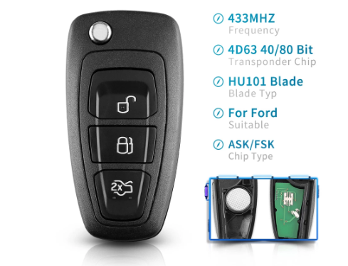 Remote ASK/FSK 3 Buttons Flip Remote Car Key Fob For Ford Focus Mondeo C-Max S-Max Fiesta 2013+ HU101 434Mhz 4D63 Chip