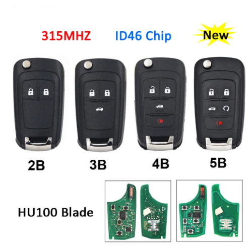 2/3/4/5 Button Folding Remote Key Flip Smart Car Key Fob 315MHz ID46 Chip For Chevrolet Aveo Cruze Orlando HU100 Uncut Blade